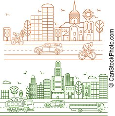 City illustration in linear style