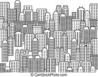 City illustration - skyscrapers and modern buildings. Contemporary metropolis and urban landscape.