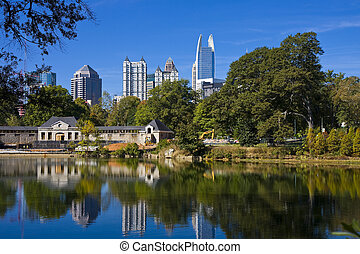 City in Blue Lake - A skyline of Atlanta reflected in the ...