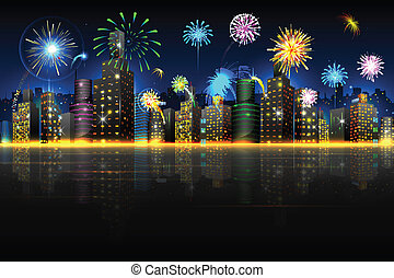 City in Celebration - illustration of firework in night view...
