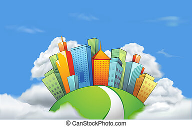 illustration of cityscape with tall tower on cloud