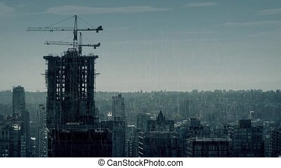 City In Dramatic Rainy Weather - Moody cityscape in heavy...