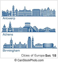 City in Europe - Antwerp, Athens, Birmingham. Detailed ...