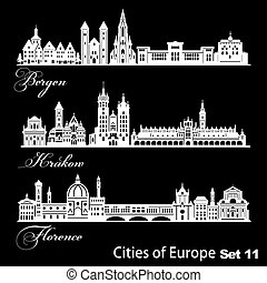 City in Europe - Krakow, Bergen, Florence. Detailed...