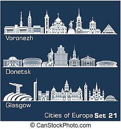 City in Europe - Voronezh, Donetsk, Glasgow. Detailed architecture. Trendy vector illustration, line art style. Blue background.