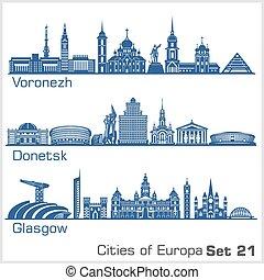 City in Europe - Voronezh, Donetsk, Glasgow. Detailed architecture. Trendy vector illustration, line art style. White background.