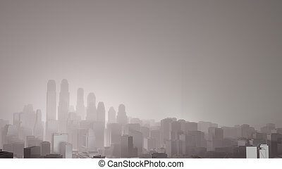 City in fog. Air pollution