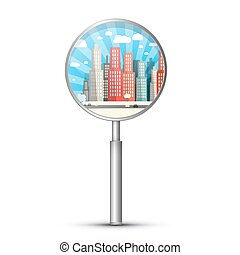 City in Magnifying Glass Vector Isolated on White