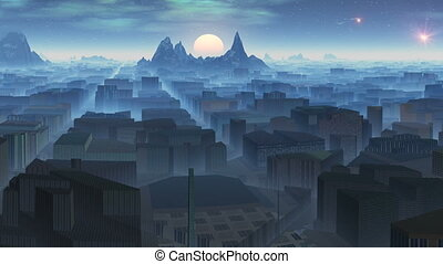 City in mountains and UFOs