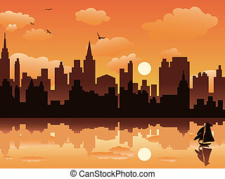 city in sunset