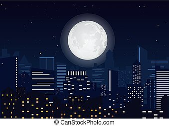City in the night. Cityscape night silhouette with big moon vector illustration.