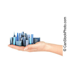city in the palm of a man isolated on a white background. 3D illustration