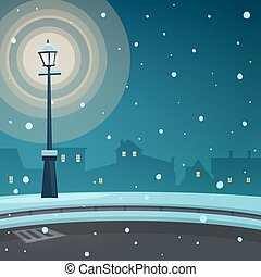 Cartoon illustration of the street retro lamp at night time with cityscape in background.