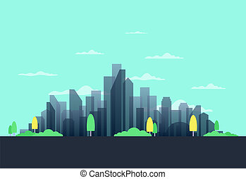 City in the summer