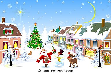 City in the winter. Jolly Santa, deer, snowman on Christmas night