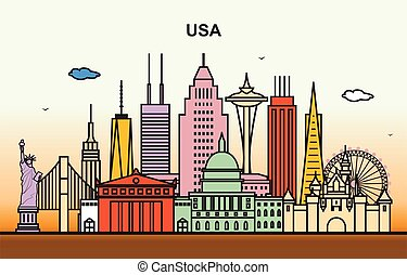 City in United States America Cityscape Skyline Illustration