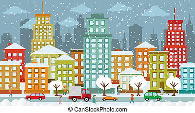 City in winter days - Vector illustration of city in the...