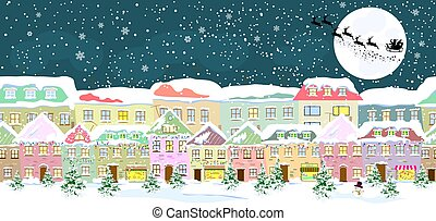 City in winter on Christmas Eve