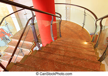 city indoor glass rotary stairs