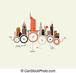 City infographics - Abstract houses on the gears. Flat...
