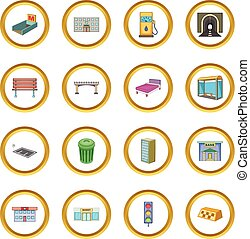 City infrastructure icons circle