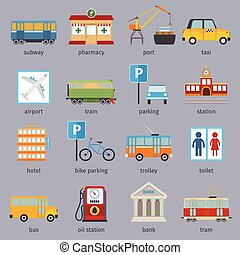 City infrastructure icons set with subway pharmacy port taxi...