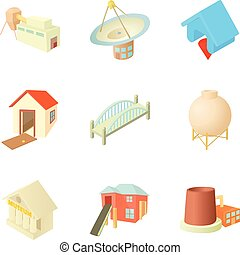 City infrastructure icons set, cartoon style