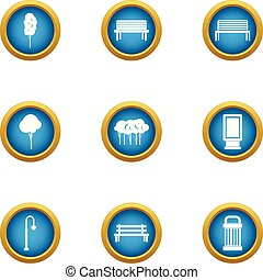 City infrastructure icons set, flat style