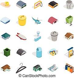 City infrastructure icons set, isometric style