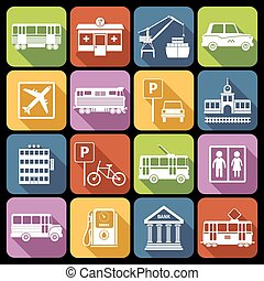 City infrastructure icons white