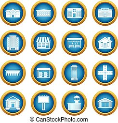 City infrastructure items icons blue circle set