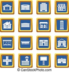 City infrastructure items icons set blue