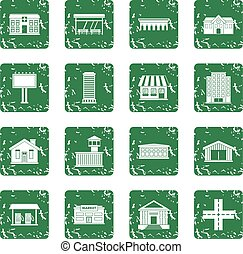 City infrastructure items icons set grunge