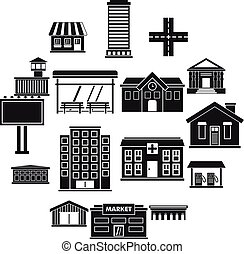 City infrastructure items icons set, simple style