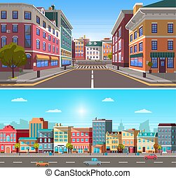 City Infrastructure, Street with Buildings and Car