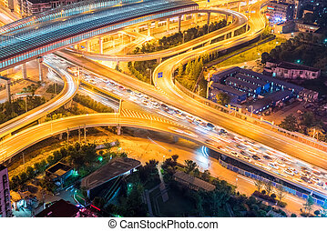 city interchange closeup with traffic congestion