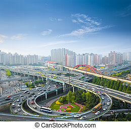city overpass in the early morning rush hour ,shanghai ,China