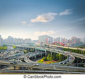 city interchange in rush hour