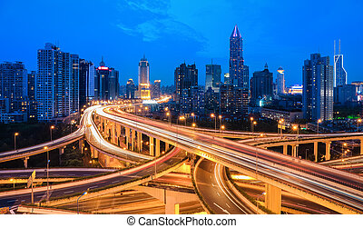 beautiful city interchange overpass at night in shanghai ,China