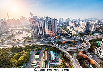 city interchange overpass - modern city interchange junction...