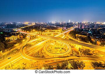 interchange road at night - city interchange road at night ...