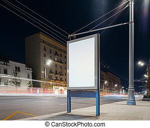 city., interpretazione, strada, vuoto, bandiera, 3d