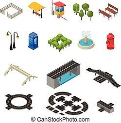 City Isometric Icons Set
