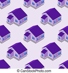 City isometric seamless pattern of the house, transportation, repetitive background EPS