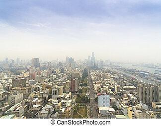 city., kaohsiung, luftaufnahmen, smog, taiwan, ansicht
