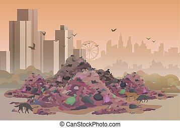 City landfill flat vector illustration