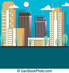 City landscape cartoon vector illustration
