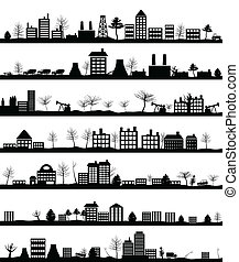 City landscape - Collection of city landscapes. A vector ...