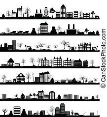 City landscape - Collection of city landscapes. A vector ...