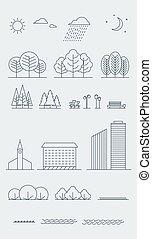 City landscape design elements. Linear style. Vector illustration.
